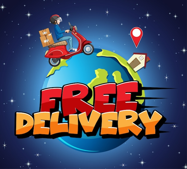 Логотип бесплатной доставки с велосипедистом или курьером
