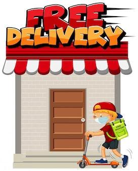 Free delivery logo with courier riding scooter