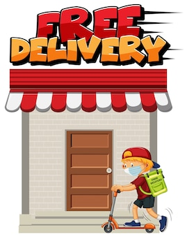 Free delivery logo with courier riding on scooter