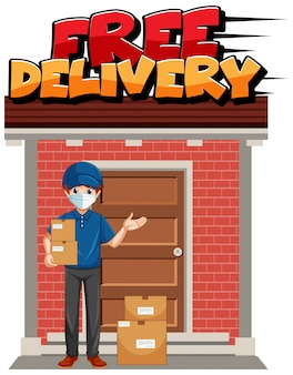 Free delivery logo with courier