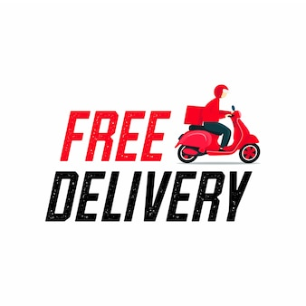 Free delivery man riding a scooter.