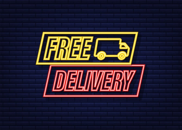 Free delivery. neon icon. badge with truck. vector stock illustrtaion.