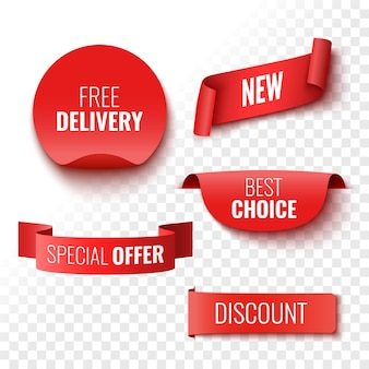 Free delivery new best choice special offer and discount sale banners red ribbons tags and stickers vector illustration