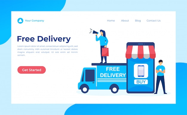 Free delivery, online shopping landing page