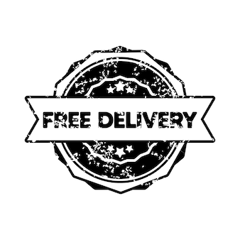Free delivery stamp. vector. free delivery badge icon. certified badge logo. stamp template. label, sticker, icons. vector eps 10. isolated on white background.