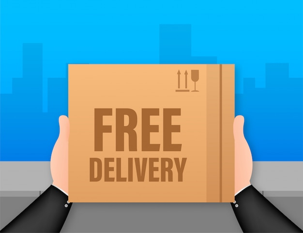 Бесплатная доставка. веб-баннер для служб доставки и электронной коммерции. иллюстрация запаса.