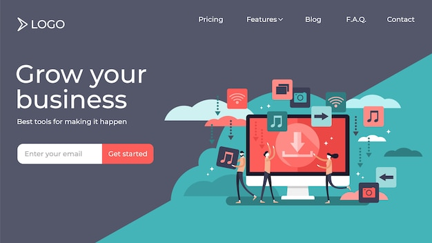 Free download tiny persons vector illustration landing page template design