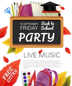 Free entry, back to school party flyer design