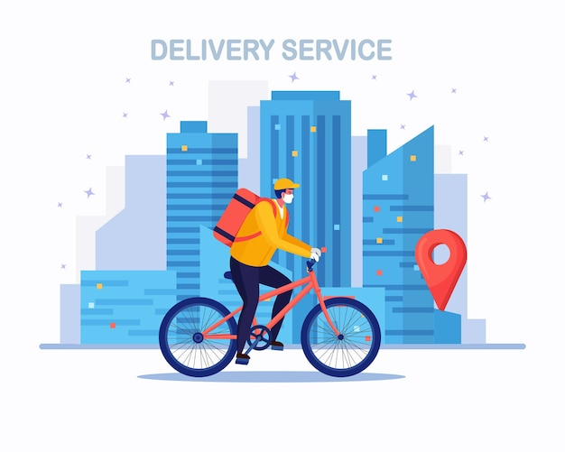 Free fast delivery service by bicycle. courier delivers food order.