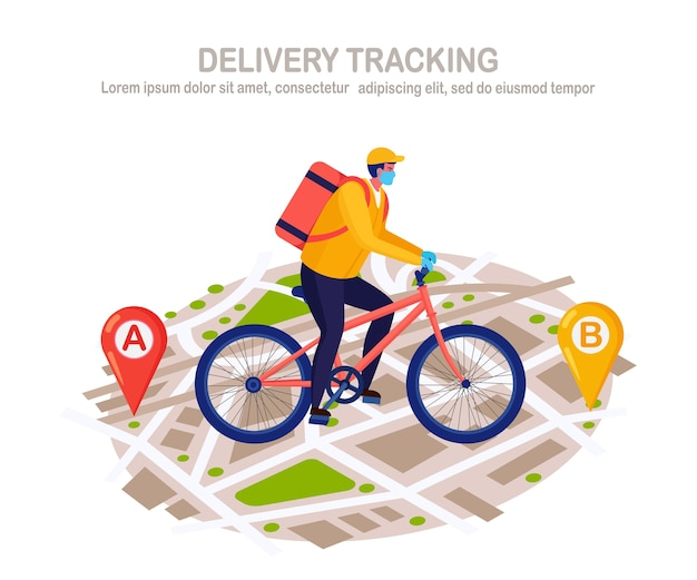 Free fast delivery service by bicycle. courier in a respirator face mask delivers food order