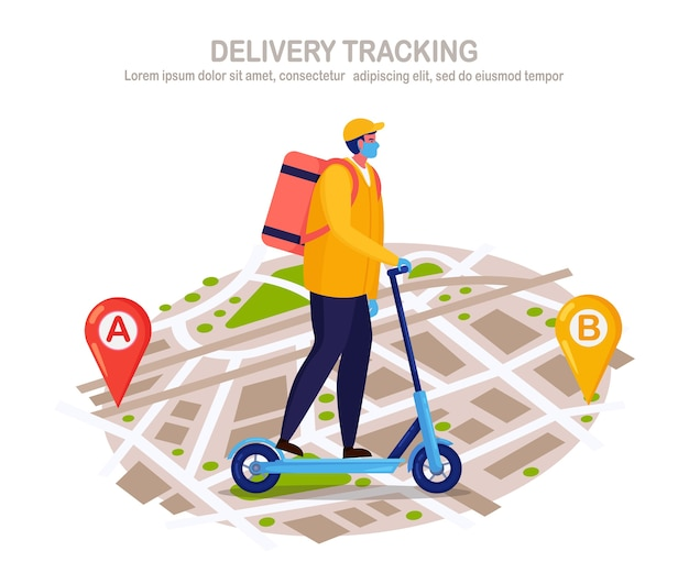 Free fast delivery service by kick scooter. courier delivers food order. man in a respirator face mask with a parcel travels on a map.