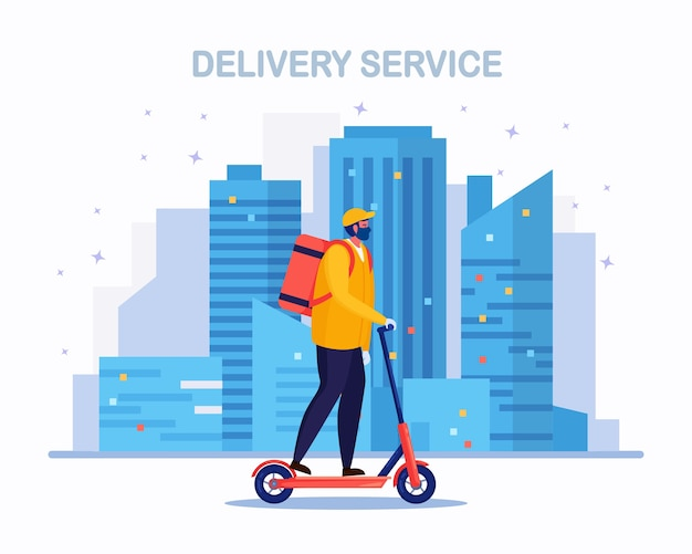 Free fast delivery service by kick scooter. courier delivers food order. man travels around city with a parcel. express shipping