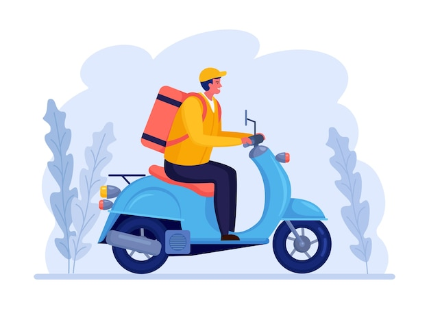 Free fast delivery service by scooter. courier delivers food order. man travels with a parcel. express shipping. online package tracking.