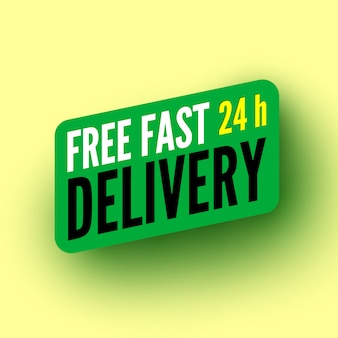 Free fast hours delivery green banner.  illustration.