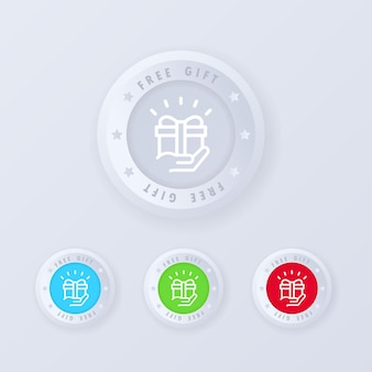Free gift button in 3d style