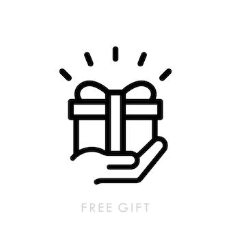 Значок линии бесплатный подарок. настоящий значок подарочной коробки. рука держит подарок.