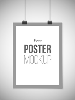 Free grey poster template hanging