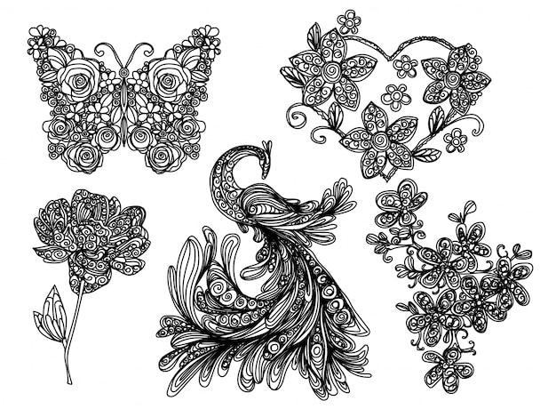 フリーハンドでの描画と黒と白の自然の蝶と花のスケッチ