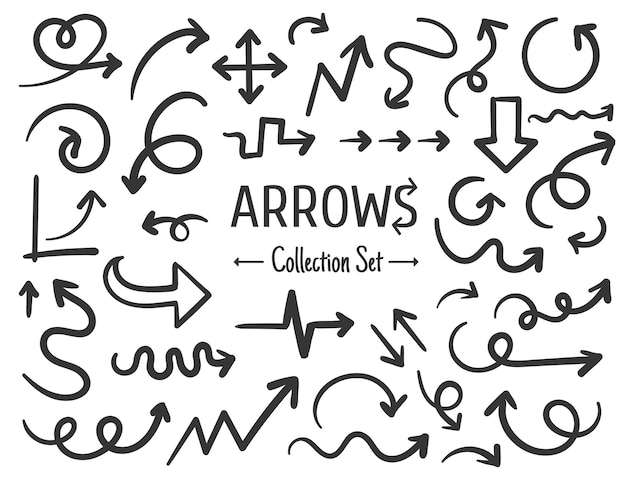 Free hand drawn line drawing arrow set design isolated on white background