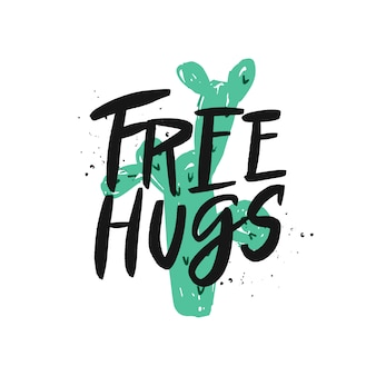 Free hugs brush lettering inscription.