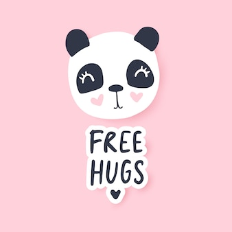 Free hugs. cute panda vector illustration. funny cartoon animal character.