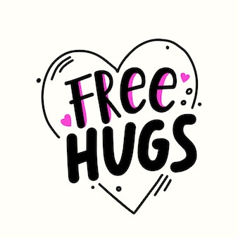 Free hugs quote inside of heart. banner, hand drawn simple style lettering with doodle design elements. love or friendship world day, t-shirt print isolated on white background. vector illustration