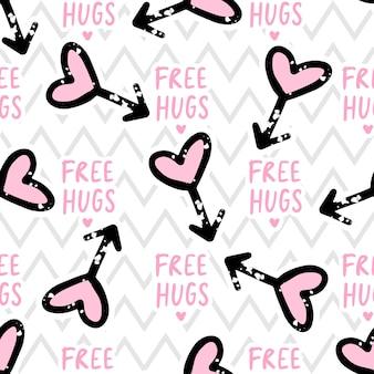 Free hugs seamless pattern love, hearts
