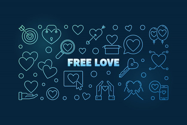 Free love blue outline icons