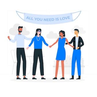 無料の愛の概念図