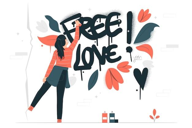自由恋愛のコンセプトイラスト