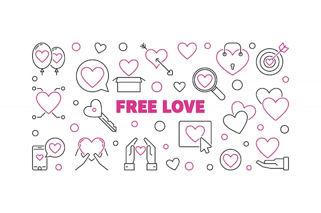 Free love outline horizontal banner
