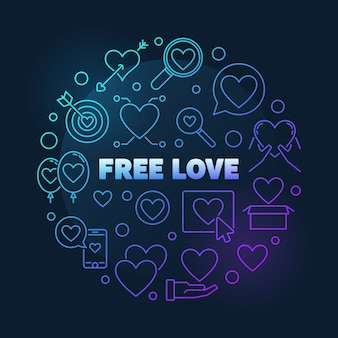 Free love  round colful outline illustration