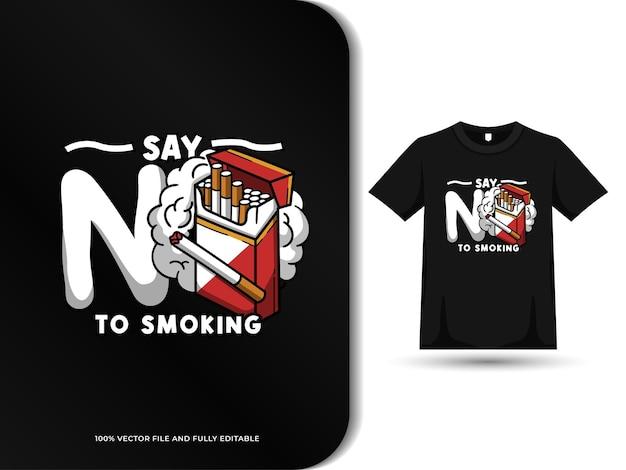 Free no smoking design with tshirt template