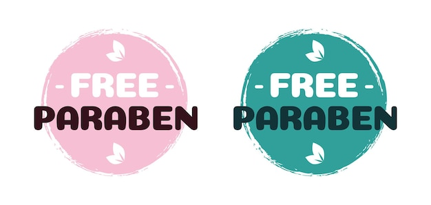 Free paraben vector label for cosmetic natural ingredients eco friendly skincare health safe product