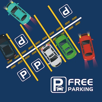 Free parking air view scene