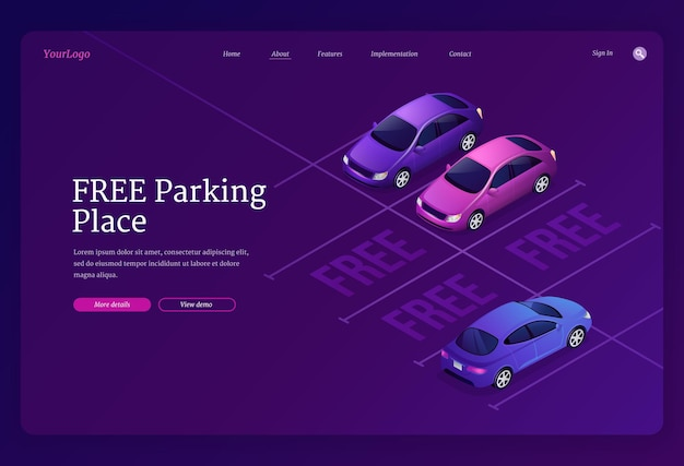 Free parking place banner