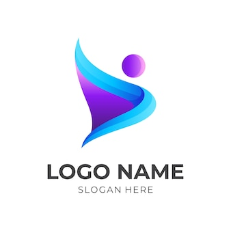 Free people logo, people and wing, combination logo with 3d purple and blue color style