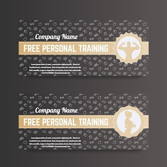 Free personal training, gift voucher for gym, fitness club, gold on dark
