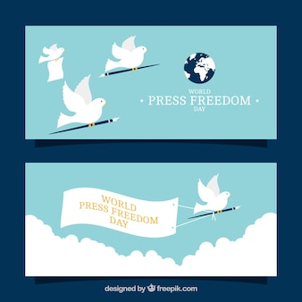 Free press day banners with pigeons