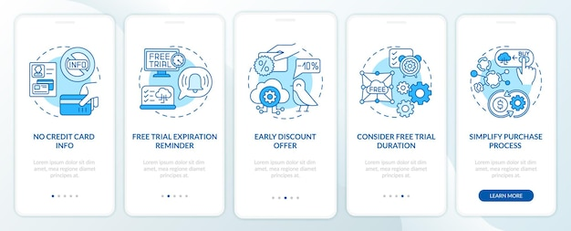 Free saas trial marketing onboarding mobile app page screen with concepts. without credit card info, discounts walkthrough steps graphic instructions. ui  template with rgb color illustrations