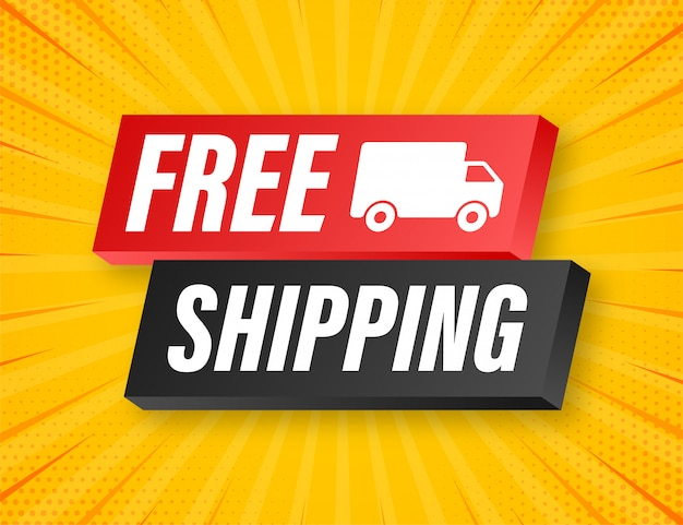 Free shipping. badge with truck.   illustrtaion.