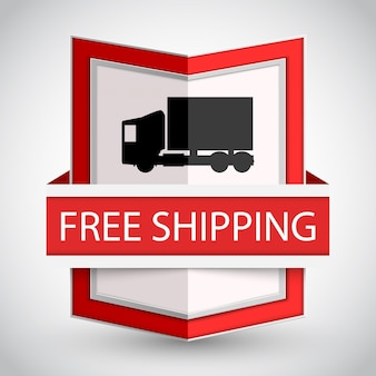 Free shipping badge with on white background