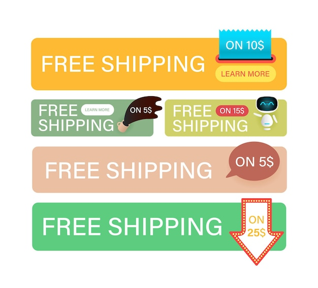 Free shipping banners set