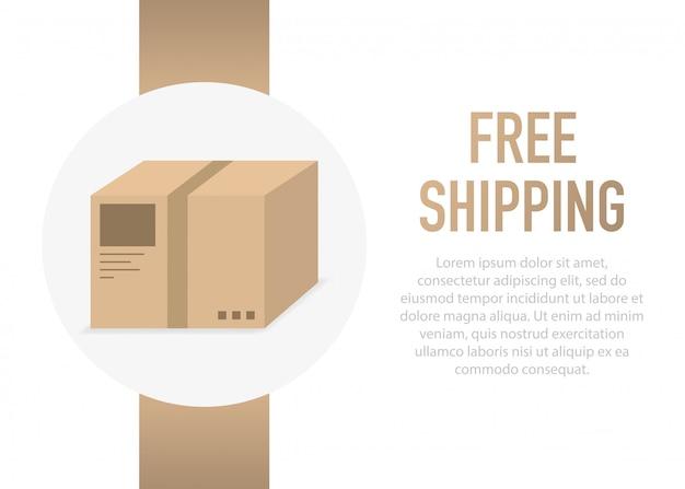 Free shipping box.   illustration.