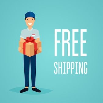 Free shipping business concept.