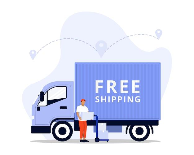 무료 배송 컨셉 일러스트