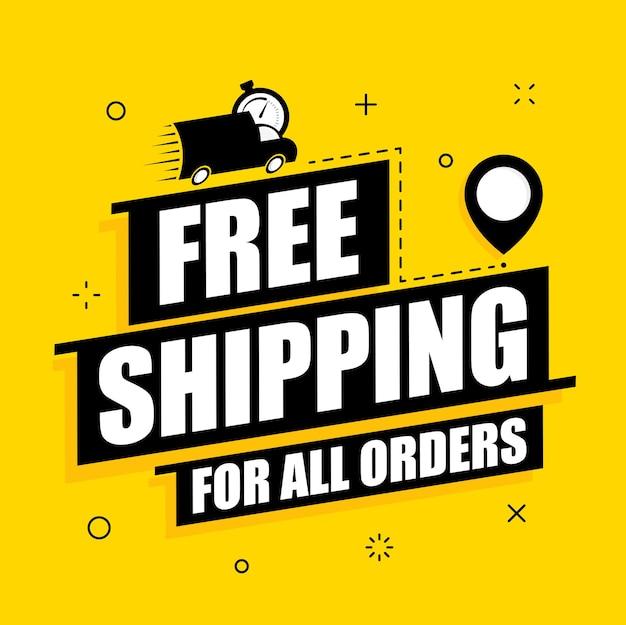 送料無料の配達オファー。黄色の背景に無料配信ベクトルポスター。プロモーションフラットイラスト。