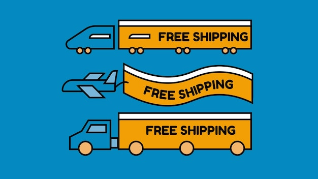 Free shipping label in different transportation object