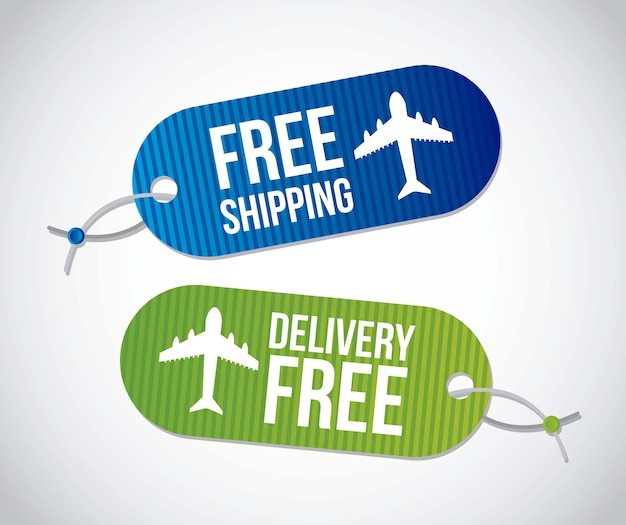 Free shipping labels over gray background vector illustration