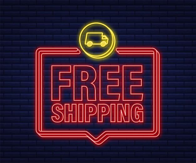무료 배송. 네온 아이콘입니다. 트럭 배지. 벡터 주식 그림입니다.